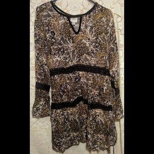 Boho dress with crochet and velvet detail